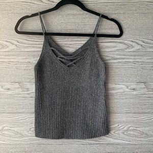 American Eagle Outfitters Gray Knit Tank Top